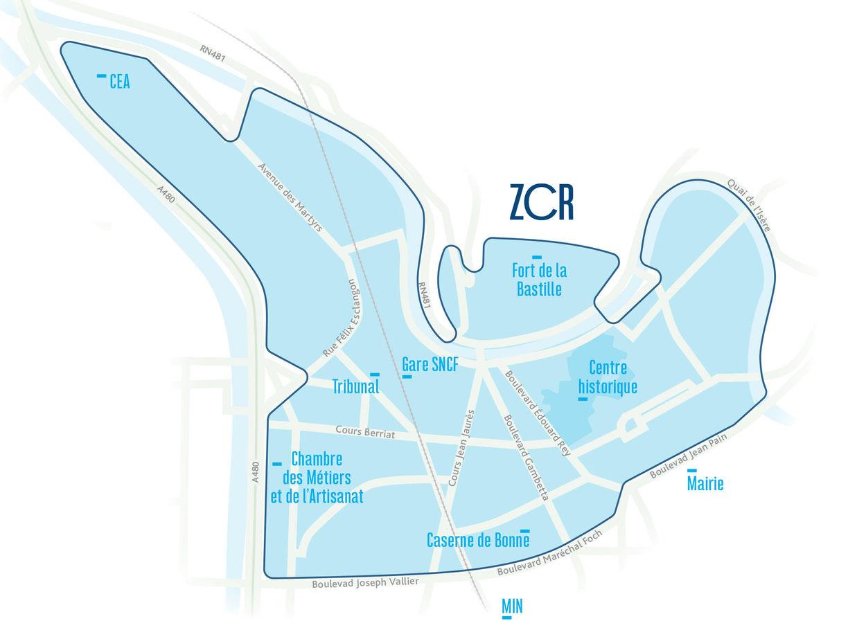Le périmètre : Centre-ville élargi de Grenoble
