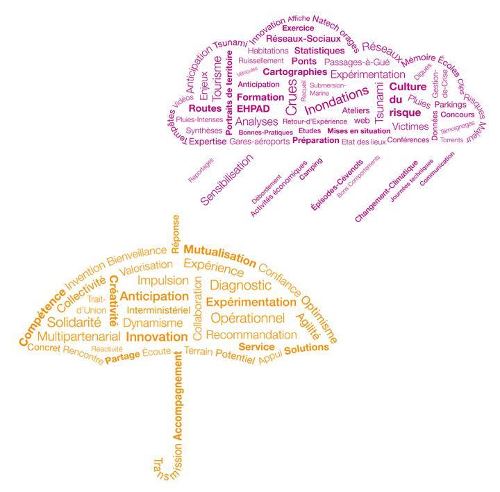 2 nuages de mots résumant la MIIAM : sensibilisation, inondation, crue, culture du risque, pluies, compétence, mutualisation, etc.