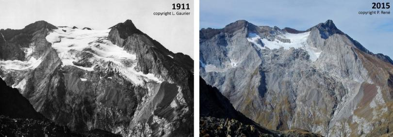 Photos comparative du glacier d'Ossoue en 1911 et en 2015