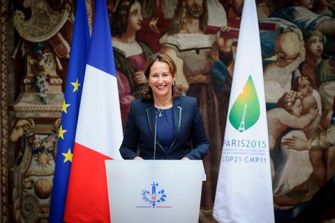 Ségolène Royal lors de la ratification de l'Accord de Paris à l'Elysée